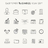 Sketched business icon set