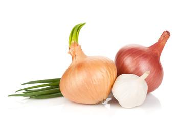 Fresh ripe onion and garlic