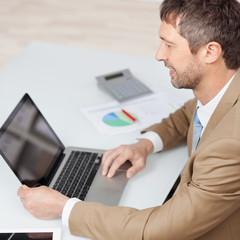 lächelnder geschäftsmann arbeitet mit laptop