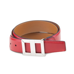 Stylish leather belt on white.