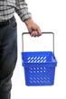a man carries a plastic market's basket