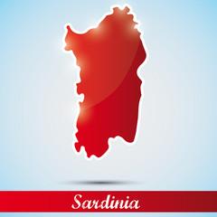 shiny icon in form of Sardinia island, Italy