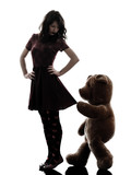 strange young woman and vicious teddy bear  silhouette poster
