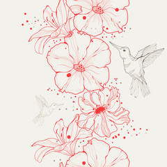 Vector bird and floral seamless pattern