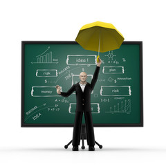 3d man with business strategy board.