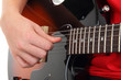 Electric guitar with hands, Musical instrument with teen's hands