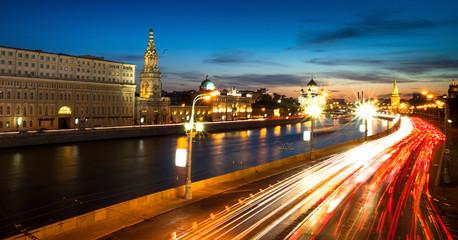 Panorama of the embankment of Moskva River near Kremlin
