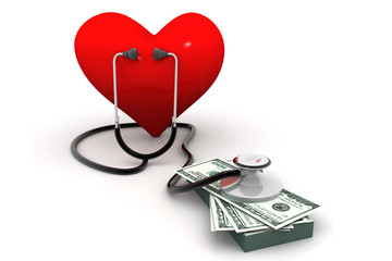 heart with stethoscope and money.