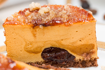 Caramel cake with chocolate cream, macro