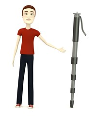 3d render of cartoon character with monopod