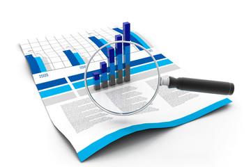 Financial data and magnifying glass