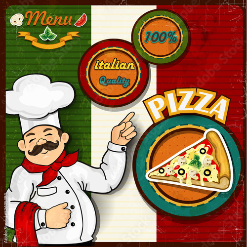 Chef pizza menu background Italian flag