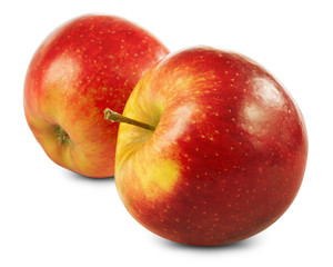 Two red ripe apple