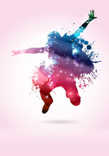 Tänzer, Balletttänzerin mit Farbtupfern