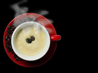 Red coffee cup with blackground