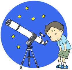 天体望遠鏡 男の子 夜空