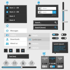 Set of modern web menu and elements