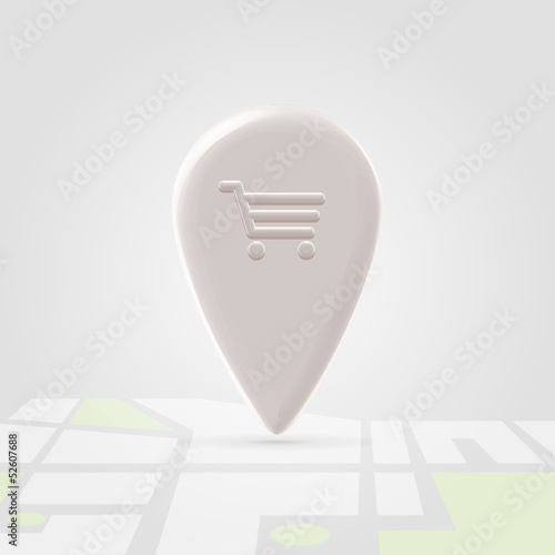 Shopping place pin over local map