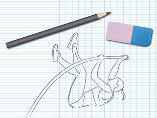 Dessin de sport sur cahier d'école : saut à la perche