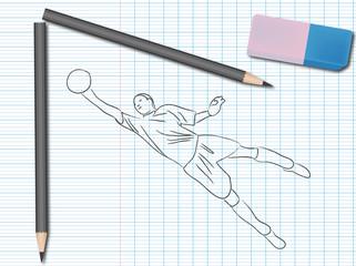 Dessin de sport sur cahier d'école : football
