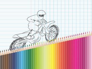 Dessin et crayons de couleur : moto-cross