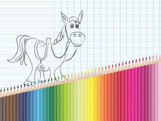 Dessin et crayons de couleur : cheval