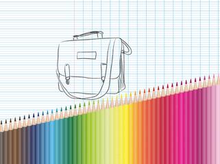 Dessin et crayons de couleur : cartable