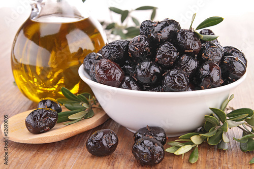 black olive and oil