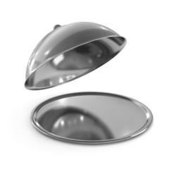 Restaurant cloche with open lid, 3d