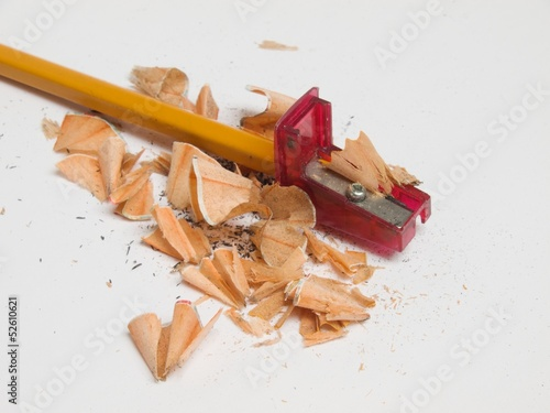 Pencil inserted into the sharpener