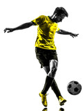 brazilian soccer football player young man dribbling silhouette