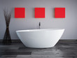 badewanne mit grauer wand und roten bildern