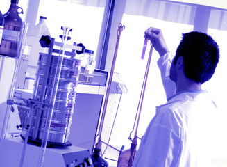 chemical laboratory, technician who is testing analysis