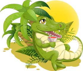 crocodile with a cocktail