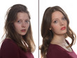Junge Frau - ohne und mit Make up