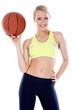 Adorable girl with basket ball