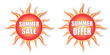summer sale and summer offer in sun labels