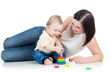 mother and baby play pyramid toy