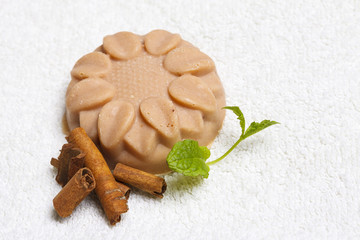 Handmade soap with scent of coffee, cinnamon and lavender