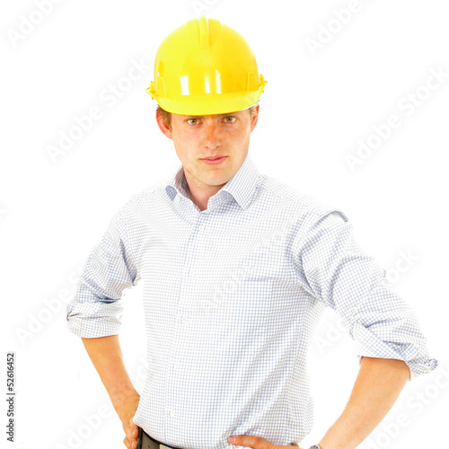 Construction supervisor in hard hat