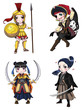 Warriors girl from various culture set 1