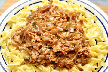 Beef Gravy Over Egg Noodles