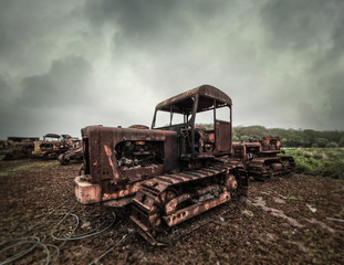 old rusted tractor