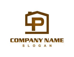 Letter P house logo