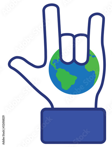 Hand love earth symbol (vector)