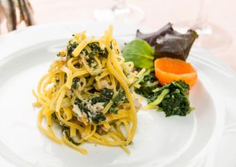 Tagliolini con tinca e bietole , fuoco selettivo- Italian pasta