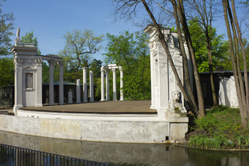 Roman inspired theater of Lazienki Palace in Warsaw, Poland