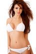 Sexy curvy brunette in a white bikini