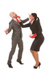 Funny businesswoman knocks-out male competitor