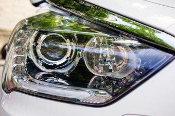 Car headlight close-up